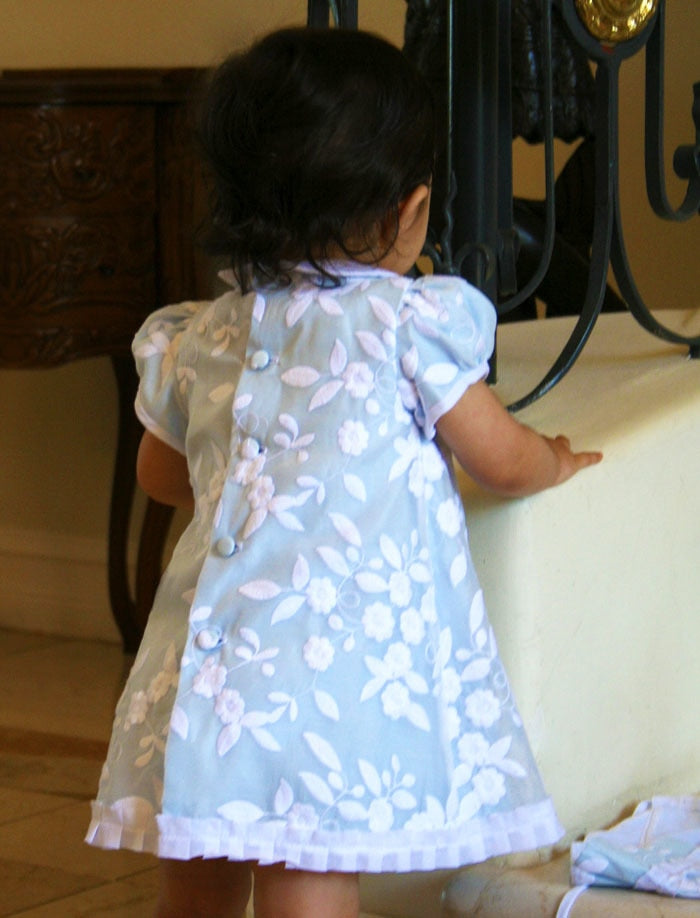 Embroidered Organza Floral Girls Dress