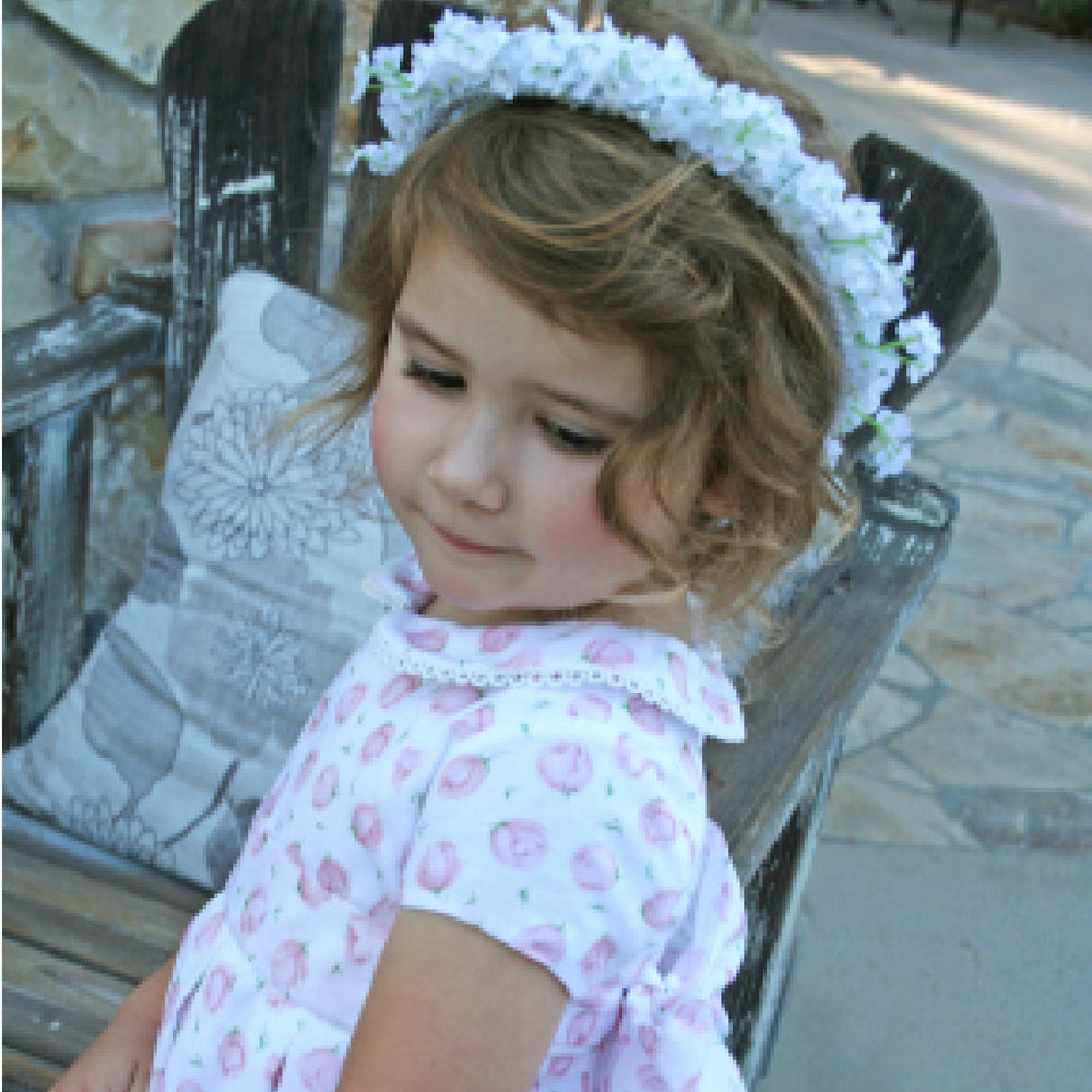 Organdy Rose Print Girls Dress Cap Sleeve