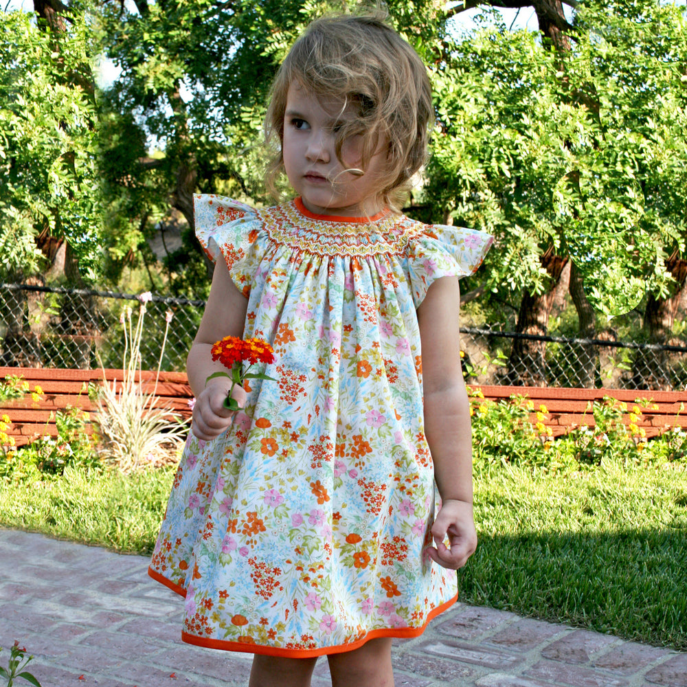 Toddler Bishop Hand Smocked & Hand Emb Floral Cotton