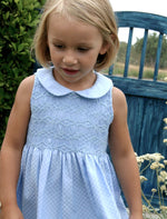 Peter Pan Collar Checkered Smocked Girls Dress