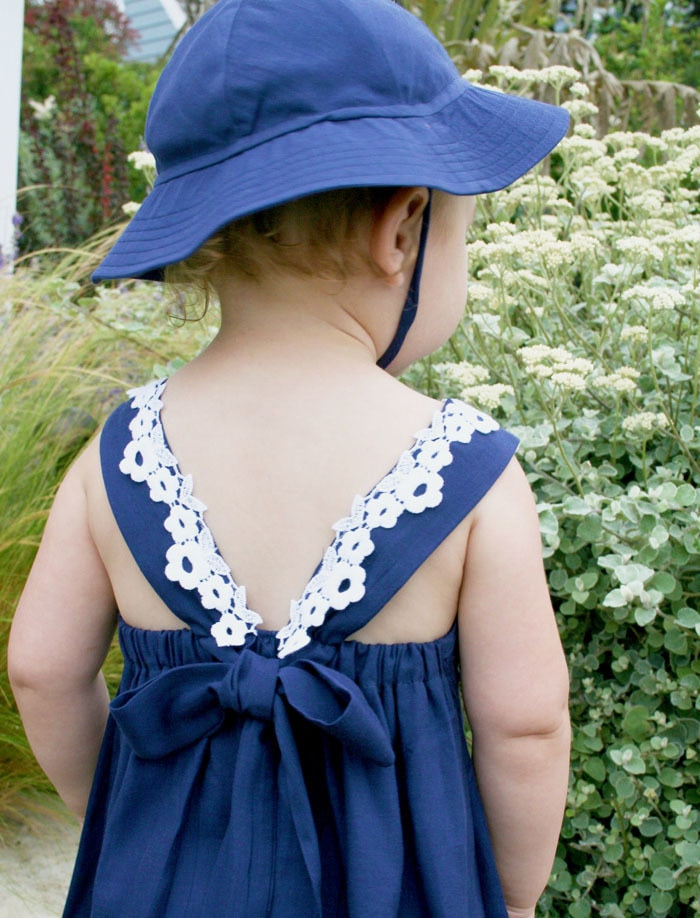 Cotton Baby Sundress w Lace Detail and Back Bow