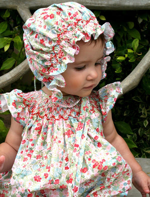 Cotton Floral Hand Smocked Bonnet