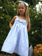 Light Blue Wide Stripe Big Bow Girls Sundress