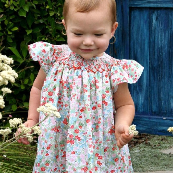Cotton Floral Hand Smocked Baby Bishop