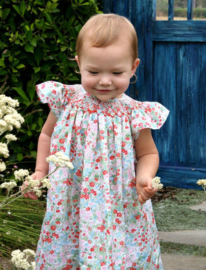 Cotton Floral Hand Smocked Toddler Bishop