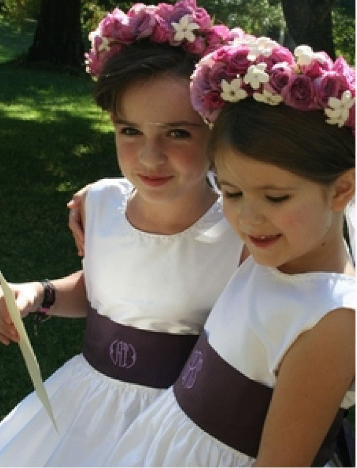 Girls Dress Sash with Monogram Option