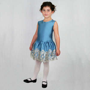 Dropwaist Taffeta Girls Dress with Floral Sequins Hem
