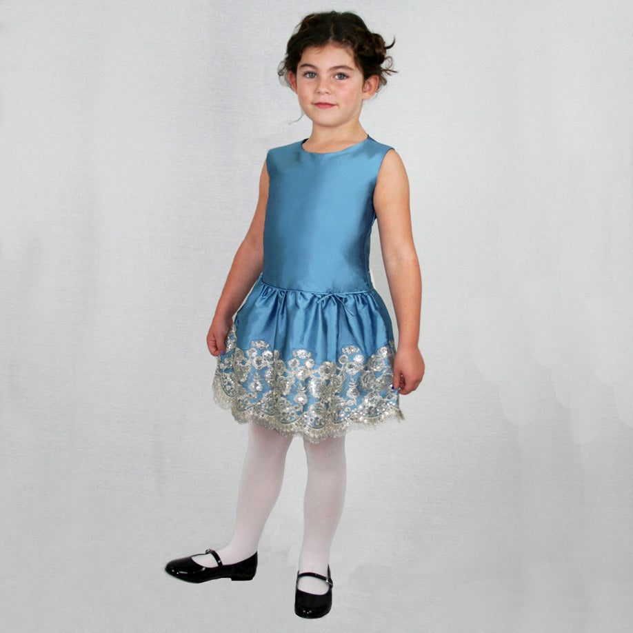 Dropwaist Taffeta Baby Dress with Floral Sequins Hem