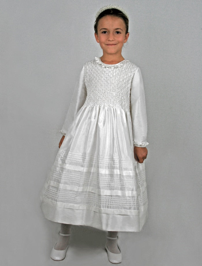 Splendid Hand Smocked Silk Girls Dress