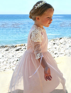 Spring Tulle with Flowers Girls Dress Below Knee Length