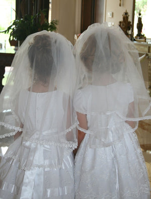 Girls Gathered Veil with Lace