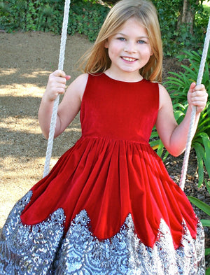 Sparkle Sleeveless Velvet with Sequins Hem Girls Holiday Party Dress