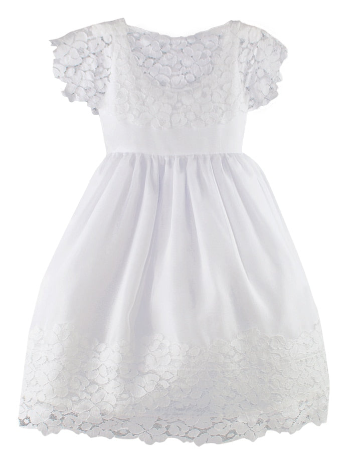Vintage Cotton Lace and Chiffon Plus Size Girls Dress