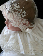 Legacy Christening Gown in Ivory Embroidered Lace & Lace Bonnet