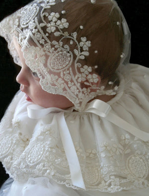 Legacy Christening Gown in Ivory Embroidered Lace with Lace Bonnet