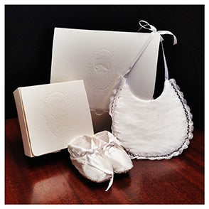 Elegant Bib and Booties Baby Gift Set with Monogram Option