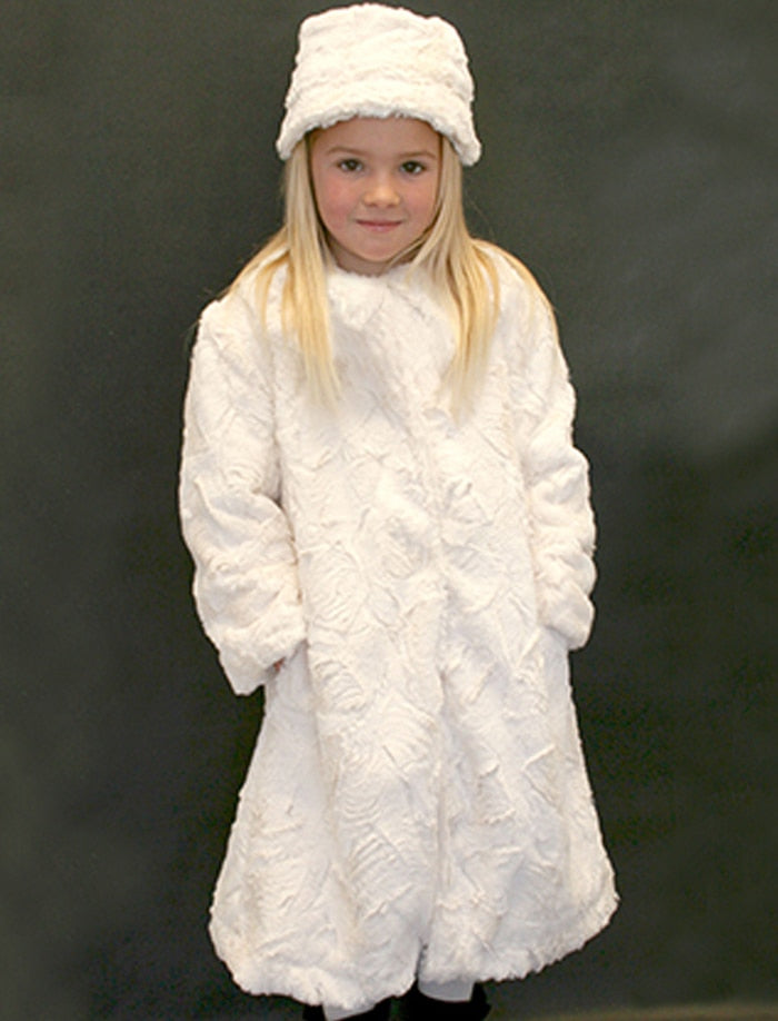 Textured Winter White Faux Fur Girls Coat
