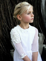 Spring Tulle with Flowers Girls Dress Mid-Calf Length