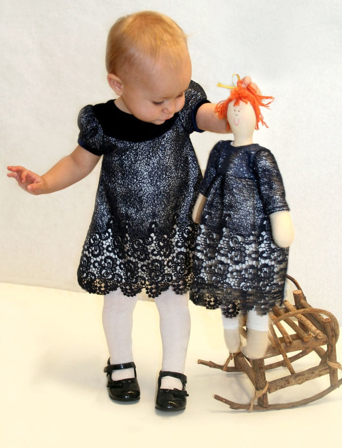 Short Sleeve Wide Velvet Collar A-Line Baby Dress