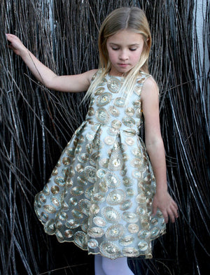 Gold Sequins Swirls Sleeveless Girls Holiday Party Dress