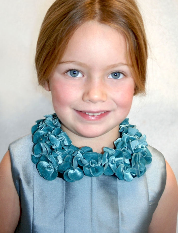 Adjustable Aqua Velvet Floral Collar