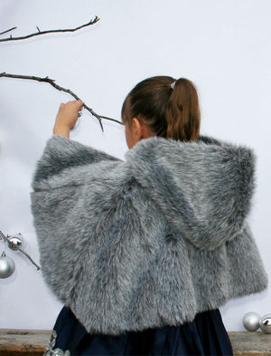 Hooded Medium Length Faux Fur Girls Cape