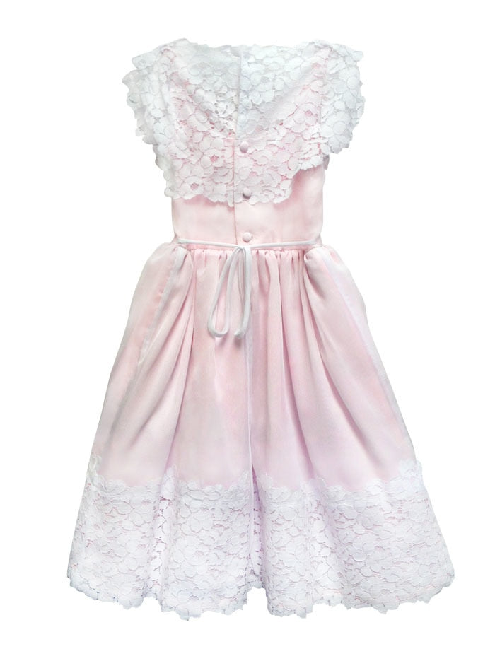 Vintage Cotton Lace and Chiffon Girls Dress