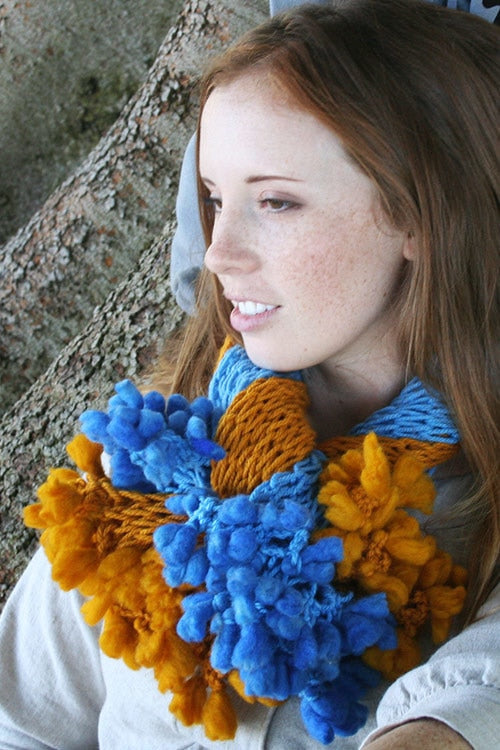 Blue Twist Scarf