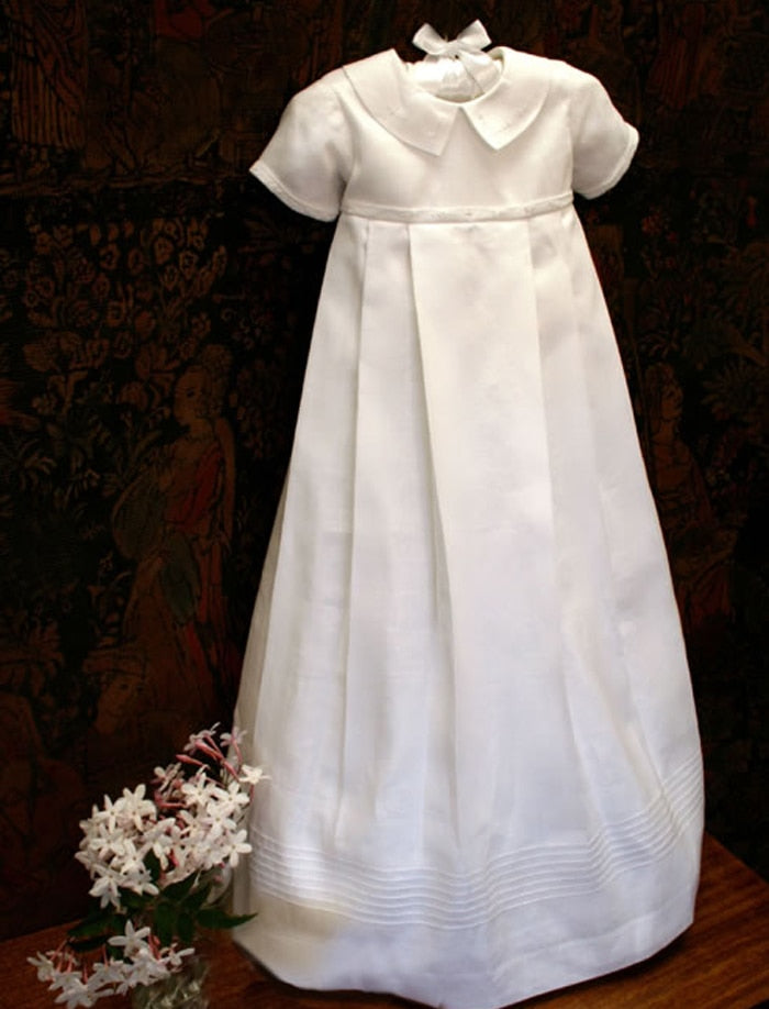 New Baby Girls White Silk Gown Dress Christening Baptism Bonnet Lace Isabel