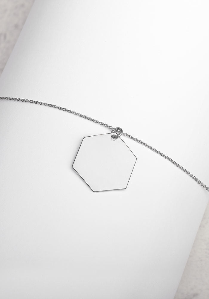 Engraved Silver Hexagon Chain Necklace