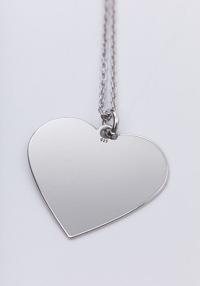 Engraved Silver Heart Chain Necklace