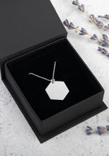 Load image into Gallery viewer, Engraved Silver Hexagon Chain Necklace