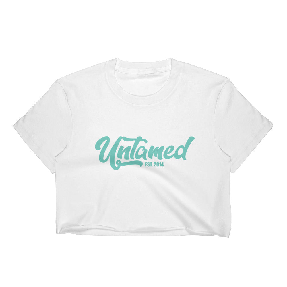 Untamed Blue Short Sleeve Cropped T-Shirt w/ Tear Away Label
