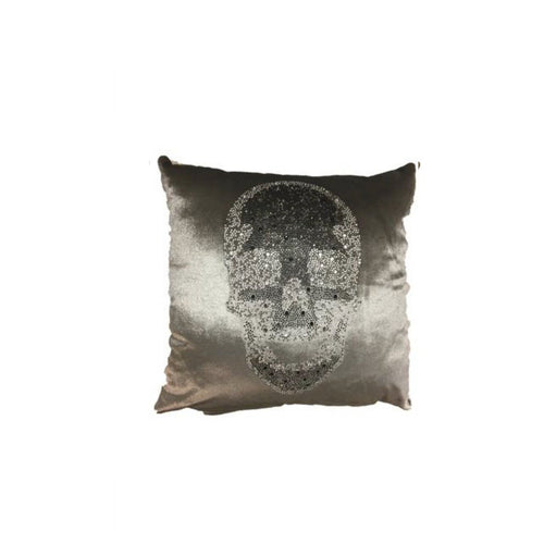 Velvet Skull Pillow- Grey