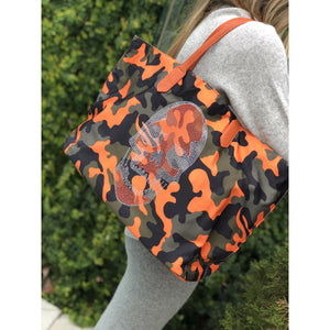 Nylon Skull Tote- Orange Camo
