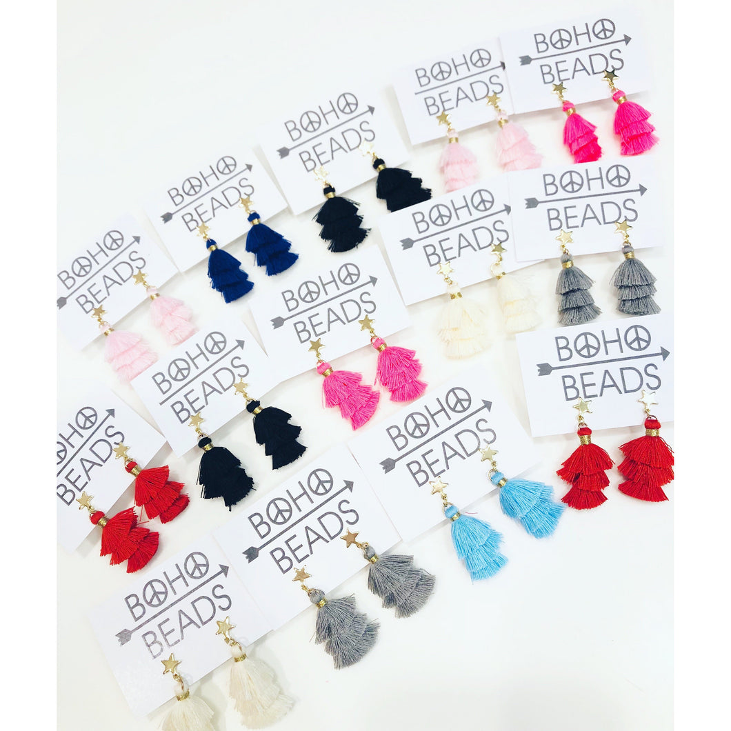 Star Stud Tassel Earrings