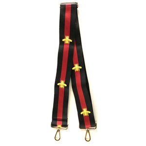 "2"" Bee Black/Red/Gold Bag Strap"