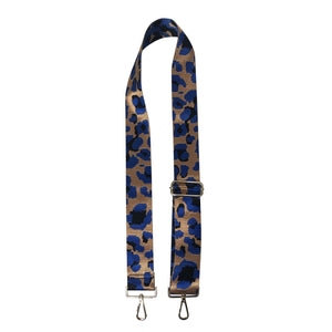"2"" Camel/Royal Blue Leopard Bag Strap"