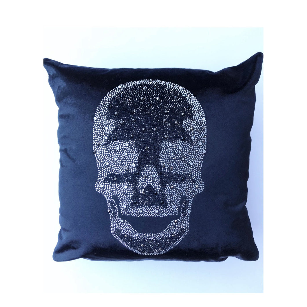 Velvet Skull Pillow- Black