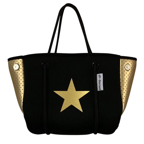 Mini Black Neoprene Mini Star Bag- Gold