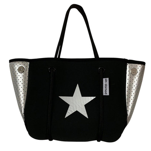 Mini Black Neoprene Mini Star Bag- Silver