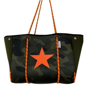 Orange Camo Star Neoprene Tote