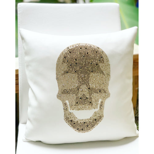 Leather Skull Pillow- White