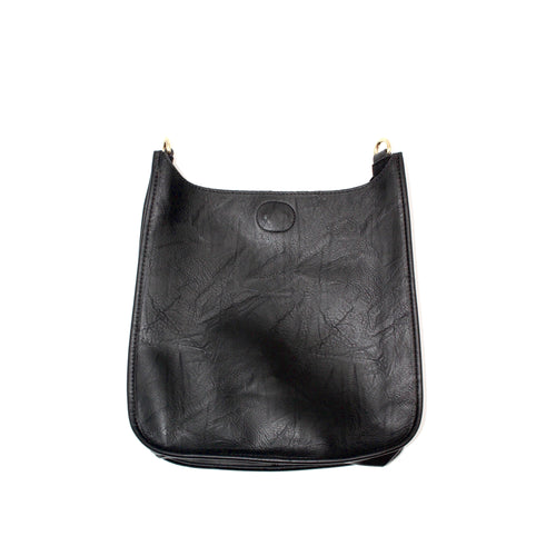 Vegan Leather Messenger- Black