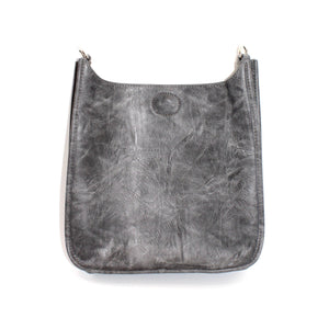 Vegan Leather Messenger- Grey