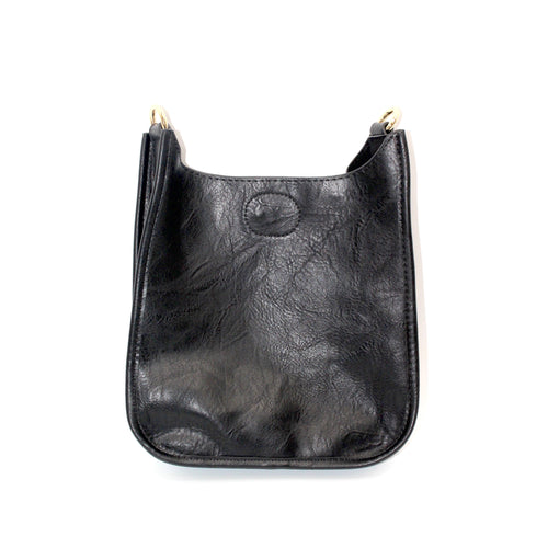 Mini Vegan Leather Messenger- Black