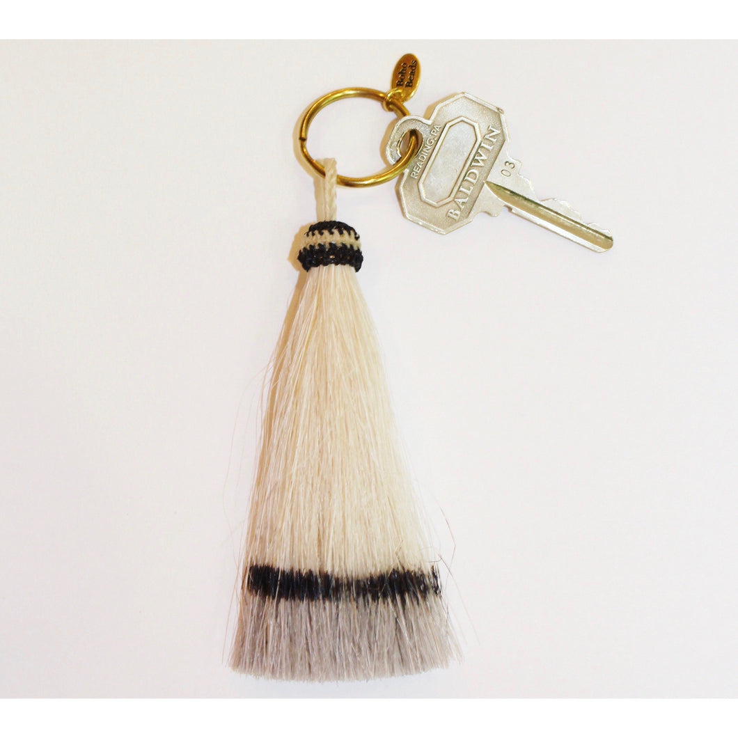 Horse Hair Tassel Key Chain- Grey/White