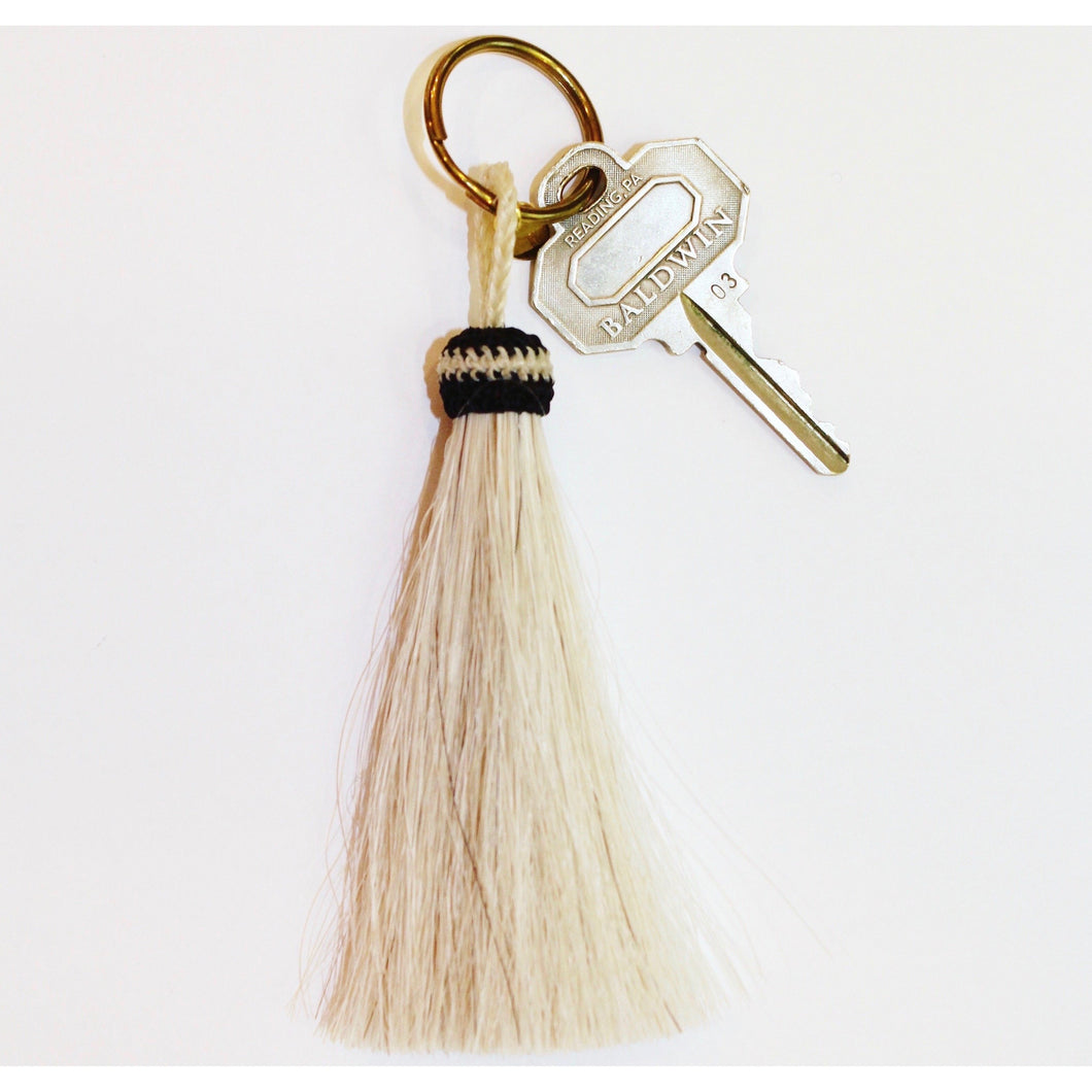 Horse Hair Tassel Key Chain- White