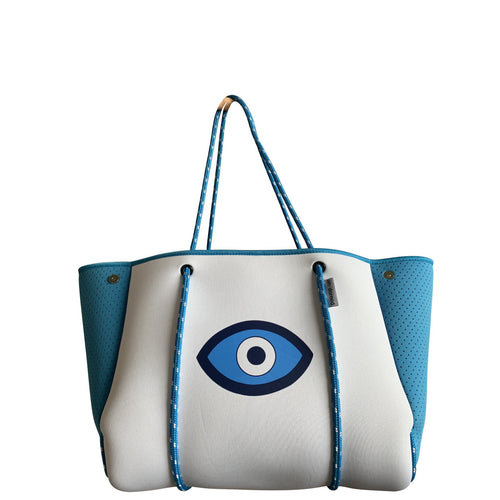 White Neoprene Lucky Eye Tote
