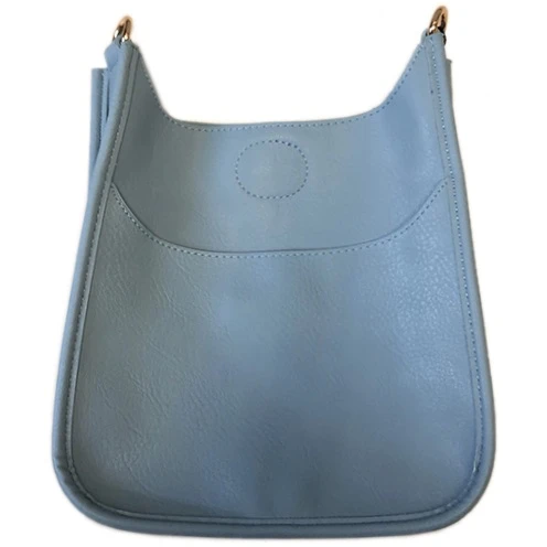 Mini Vegan Leather Messenger- Light Blue